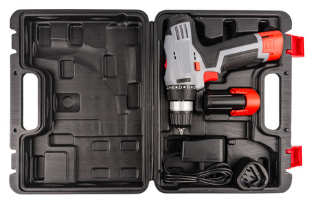 Cordless Drill+Clipping Path. Top view. Stock Photo