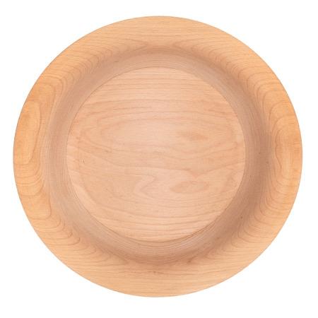 Widok z góry na pustą miskę drewnianą na białym tle.