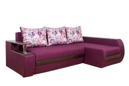 Purple sofa isolated on white background. Purple sofa isolated on white include clipping path. Carved without a shadow.