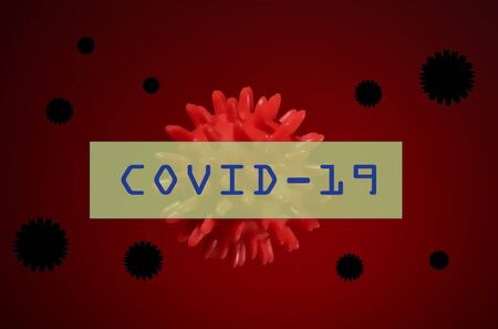 Inscription COVID-19 on red background. Virus around the world. stay at home. the danger is near. red bacterium. Plate with letters and numbers. Stockfoto