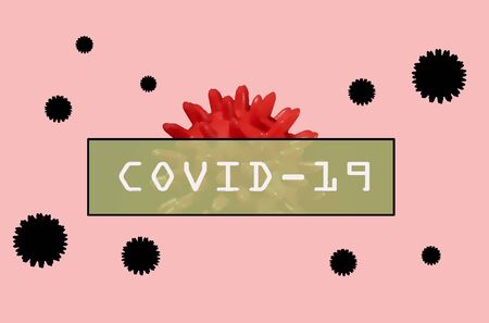 Inscription COVID-19 on pink background. Virus around the world. stay at home. the danger is near. red bacterium. Plate with letters and numbers.