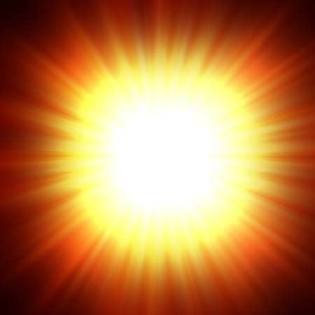 A star burst or lens flare over a black background  It also looks like an abstract illustration of the sun Stock Illustration - 12776688