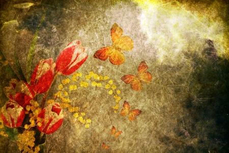 love wallpaper: Vintage papel antiguo quemado con flores y mariposas;