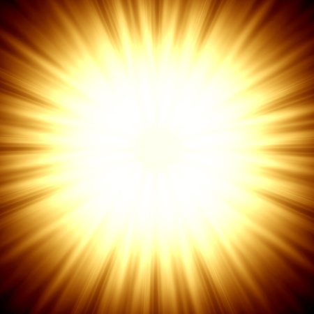 A star burst or lens flare over a black background  It also looks like an abstract illustration of the sun  illustration