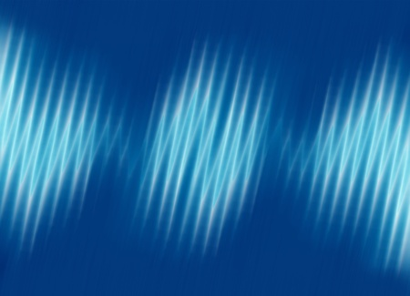Sound waves oscillating on blue background photo