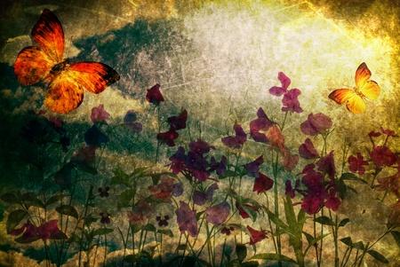 old macro: Vintage papel antiguo quemado con flores y mariposas;