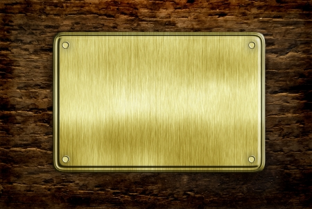 aluminum texture: metal sign on wood plank background Stock Photo