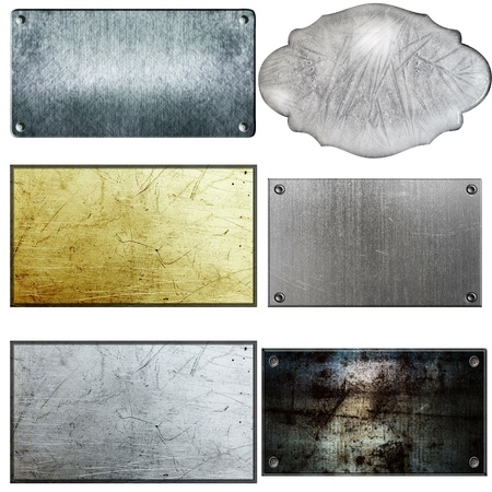 bronze texture: old metal sign collections isolated on white