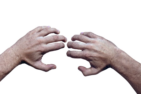 tense: grunge two hands isolated on white background