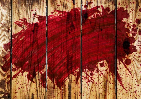 bleeding: blood on a wooden wall