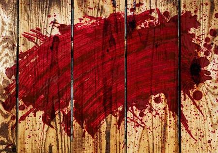 uccidere: sangue su una parete in legno Archivio Fotografico