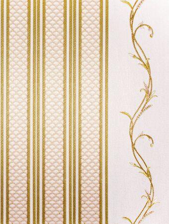 retro striped wallpaper with wavy branche photo