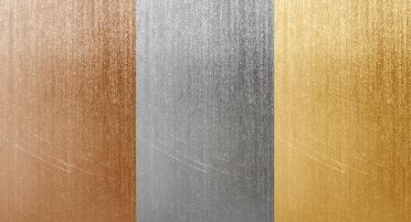 Natural aluminum bronze and brass scratched textures photo