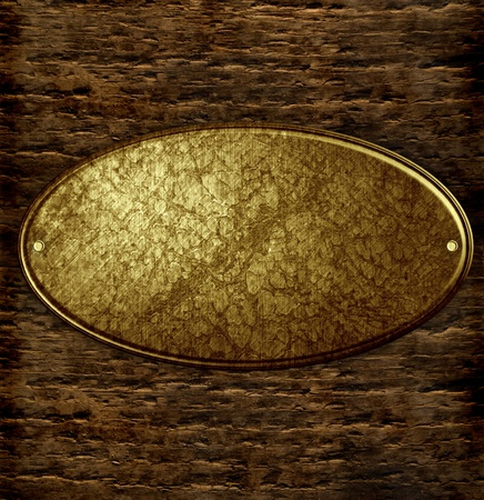 metal sign on wood plank background photo