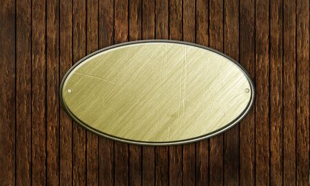 rectangle patterns: metal sign on wood plank background Stock Photo