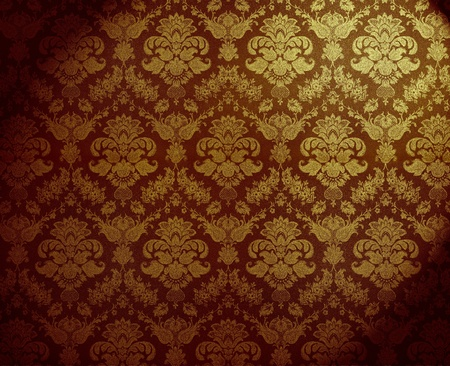 decorative wallpaper: retro golden dirty floral wallpaper Stock Photo