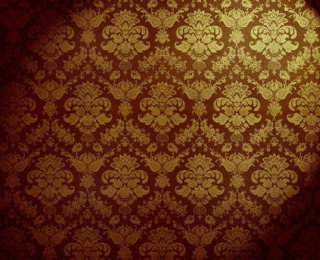 antiek behang: retro gouden vuile bloemenbehang