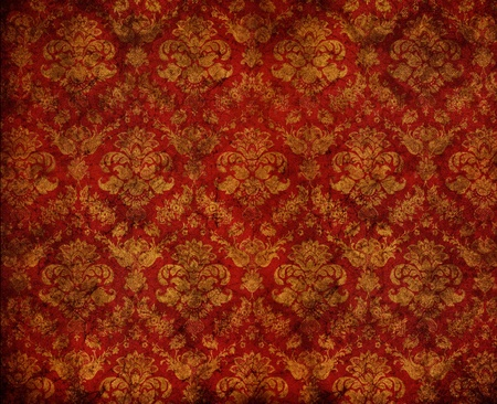 retro red dirty floral wallpaper
