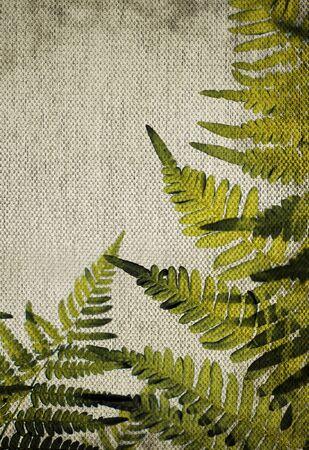 beige backgrounds: linen golden rustic canvas texture with green fern