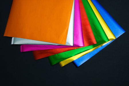 colorful foil on black background Stock Photo - 13053597