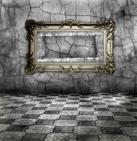 tissu or: cadre dor� sculpt� sur l'argent mur