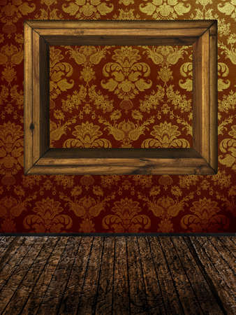 venecian: vintage room with golden damask wallpaper