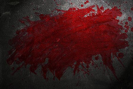 Blood splat droplets border with black leather Stock Photo