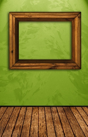 Vintage room with green wall photo