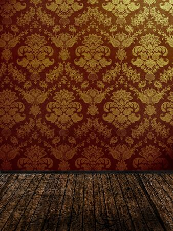 vintage room with golden damask wallpaper  Stock Photo - 13061563