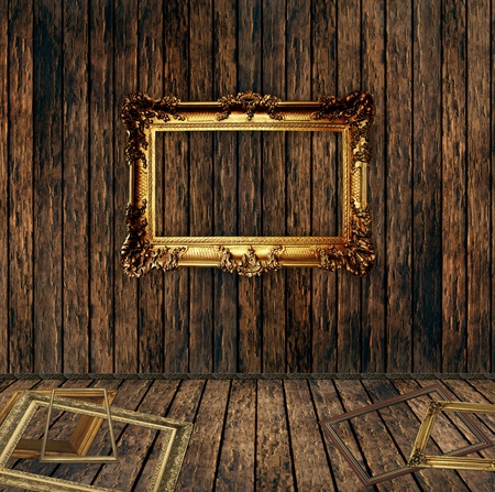 antique gilded frame over wooden wall  Stock Photo - 13061545