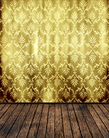 retro background vintage room floral wallpaper and wooden parquet photo