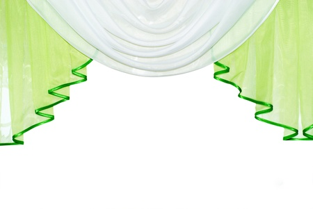 green curtain ahd tulle isolated on white  photo