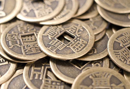 Antique bronze Chinese coins of close-up Stock Photo