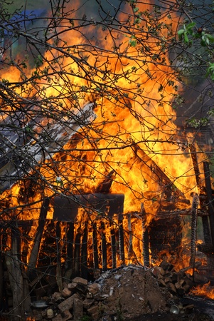 house on fire: house fire Stock Photo