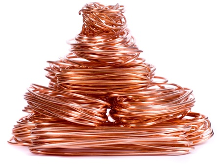 copper wire isolated on white photo