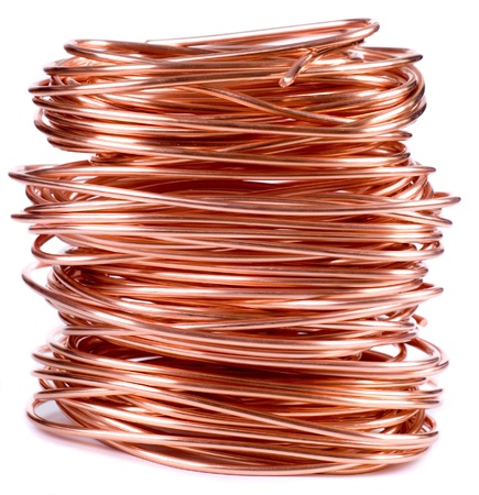 copper: copper wire isolated on white