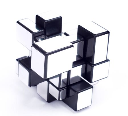 cube assembling from blocks isolated on white photo