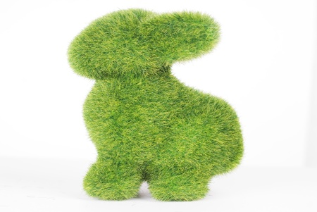 toy of rabbit from artificial grass isolated on white background