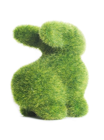 toy of rabbit from artificial grass isolated on white background photo