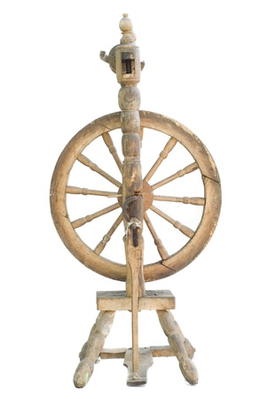 spindle: Old antique vintage traditional spinning-wheel,a distaff of the 19th century isolated on white background  Russia