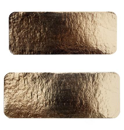 oxidated: Grungy cepillado placa de lat�n amarillo hoja aislado en blanco con trazado de recorte Foto de archivo