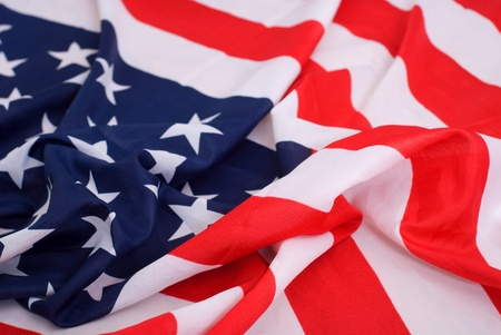 americana: american crumpled flag of close up