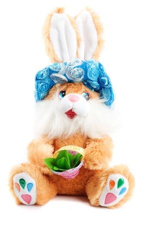 paskha: soft toy of rabbit isolated on white Stock Photo