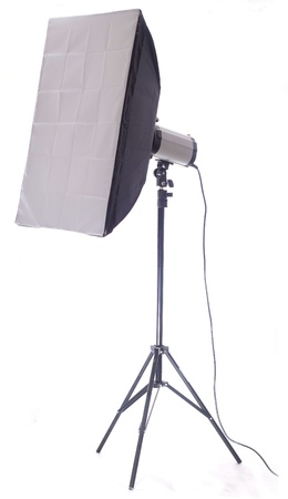 Studio flash with soft-box isolated on a white background Stock Photo - 13094446