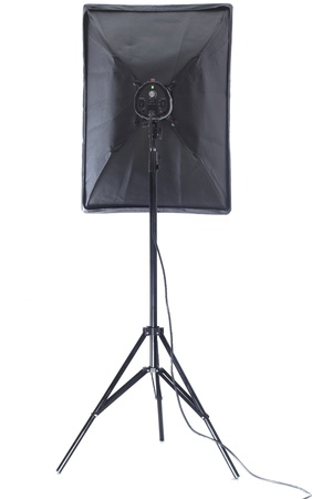 Studio flash with soft-box isolated on a white background Stock Photo - 13095284