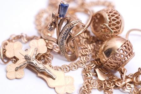 bangle: gold jewelry isolated on white Stock Photo