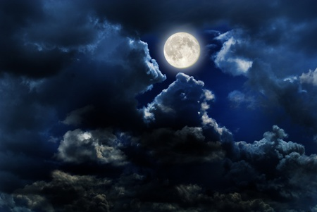 phases: full moon over dark sky with