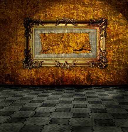carved gilded frame on gold wall photo