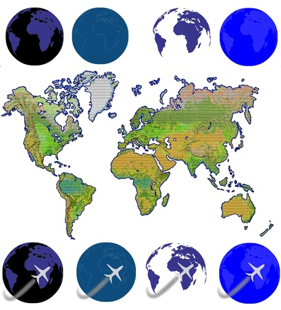 unfolded: An unfolded map of the world and flying airplane