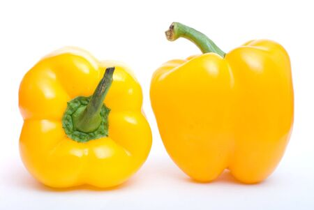 two pepper sweet on white background photo